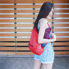 Hobo nylon bag from @CubTravelers  A simple gear for your travel activity, you can use as backpack or messenger bag.  For more information or order check our board, #bags #travelbags #dailypacks #products #apparel #outdoors #red #hobo #messenger #slingbags #rucksack #girlie #traveling #traveler