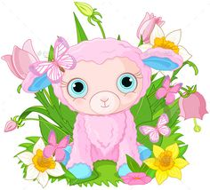 Buy Cub Sheep by Dazdraperma on GraphicRiver. Illustration of cute cub sheep sits in bunch of flowers. Farm Vector, Sheep Vector, Pink Sheep, Baby Sheep, Funny Sheep, Cute Sheep, Sheep Cartoon, Cartoon Dog, Vector Design