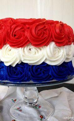 patriotic rose cake  www.tablescapesbydesign.com https://www.facebook.com/pages/Tablescapes-By-Design/129811416695