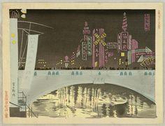 Dotonbori at Night - Tomikichiro Tokuriki 1902-1999 Printed 1930's Artelino
