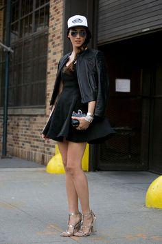@roressclothes closet ideas #women fashion Black Dress and Baseball Hat/ ImaxTree