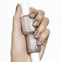 next to nude by essie - neutral gets noticed when paired with bronze in this multidimensional nail design.