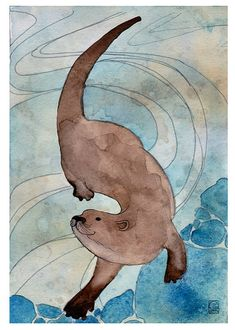 River Otter   Otter Illustration by Dancingheron on Etsy