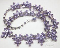 Vtg SHERMAN necklace blue-purple change color Alexandrite rhinestone rhodium    eBay