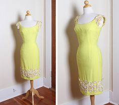 MINT 1950's Designer Canary Yellow Silk by butchwaxvintage on Etsy, $295.00