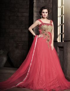 Dia Mirza Net Material Floor Touch Gown With Embroidered Work