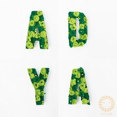 3D Letters flower box green