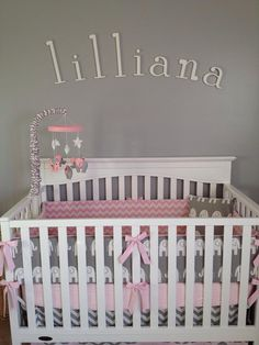 Pink and Gray Elephant Custom MINI Crib by butterbeansboutique, $245.00