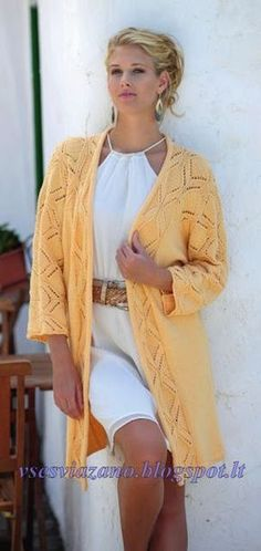 ВСЕ СВЯЗАНО. ROSOMAHA.: Длинный жакет кимоно с ажурным узором.