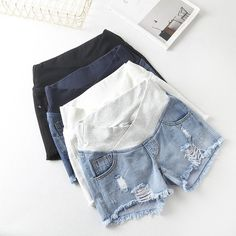 Low Waist Distressed Denim Shorts for Pregnant Women - Mimi La Mode offers a full collection of maternity bottoms, together with other casual pregnancy cl - Cute Maternity Outfits, Maternity Shorts, Stylish Maternity, Pregnancy Outfits, Pregnancy Info, Pregnancy Clothes, Summer Maternity Fashion, Summer Maternity Clothes, Pregnant Fashion Summer