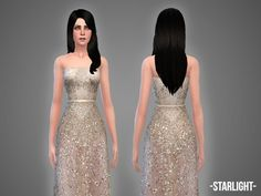 The Sims Resource: Starlight - gown by April • Sims 4 Downloads