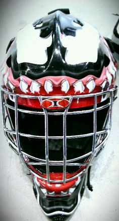 Venom goalies mask, spotted while volunteering at the Cassie Campbell street hockey festival.