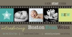 Personalized Birth Announcements, Fancy Film Design by SimplyToImpress.com