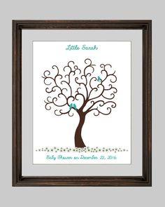 Baby Shower Fingerprint Tree with birds by CustombyBernolli