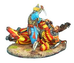 Downed Crusader Knight Finished Off by Mamluk Warrior