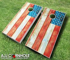 Distressed American Flag Cornhole Set w/Bags by EverythingCornhole