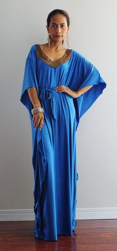 Blue Kaftan Dress  Kimono Butterfly Maxi Dress Elegant by Nuichan, $59.00