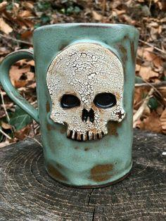 Turquoise Ceramic Skull Mug for Halloween by CrookedCuriosities on Etsy Skull Decor, Skull Art, Memento Mori, Skull Rock, Gothic House, Arte Popular, Turquoise, Skull And Bones, Mug Cup
