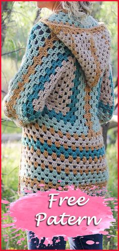 The Campfire Cardigan Free Crochet Pattern Crochet Cardigan Pattern Free Women, Crochet Patterns Free Women, Crochet Hood, Crochet Jacket, Free Crochet, Knit Crochet, Crochet Crafts, Crochet Projects, Crochet Ideas