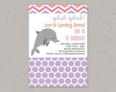PRINTABLE Pink Dolphin Birthday Party Invitation / Pink and