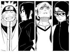 Naruto, Sasuke, Boruto and Sarada