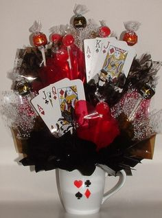 TEXAS HOLD 'EM Poker Candy Bouquet / Centerpiece by CandyFlorist, $23.95