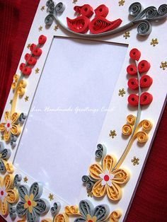 the gold and silver flower photo frame I mentioned in my previous post. I added a couple of. Quilling Work, Neli Quilling, Quilling Paper Craft, Paper Crafts, Paper Quilling Cards, Paper Quilling Patterns, Quilled Paper Art, Handmade Birthday Cards, Greeting Cards Handmade