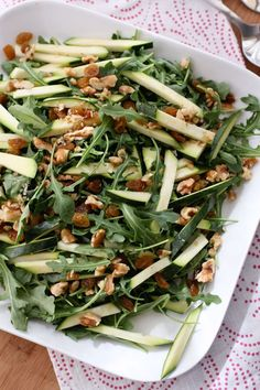 Zucchini and Walnut Arugula Salad with Basil Vinaigrette #healthy #salad #recipe