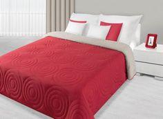 Červeno-béžový prehoz Alisa je dostupný v troch rozmeroch: 170x210, 220x240 alebo 230x260 cm.