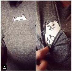Shirt mit Katze in der Brusttasche