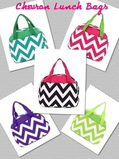 Chevron Insulated Lunch Bags! So cute!! Sold at Southern Lotus Boutique on Facebook! Check us out!