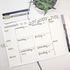 Bullet journal weekly layout, calligraphy header, plant drawings, task list. @kitoremi