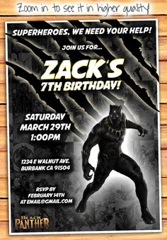 Black Panther Black Panther Invitation Black by MonsterDigitals
