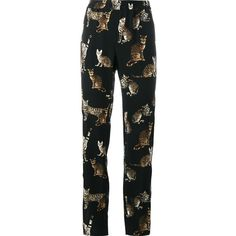 Dolce & Gabbana Bengal cat print trousers (€715) ❤ liked on Polyvore featuring pants, trousers, black, cat pants, silk trousers, peg-leg pants, silk pants and peg leg pants