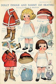 Vintage Dolly Dingle Sammy Go Skating Paper Dolls 1922 Punch Doll Cuddle Bunny Paper Dolls Printable, Printable Vintage, Dolly Doll, Vintage Paper Dolls, Antique Dolls, Vintage Paper Crafts, Toddler Dolls, Vintage Art Prints, Christmas Paper