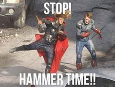 Stop, #hammertime! I don't think that's quite how they meant it, though. #Avengers