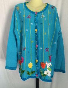 The Quacker Factory Cardigan Easter Sweater Size Large  #QuackerFactory #Cardigan