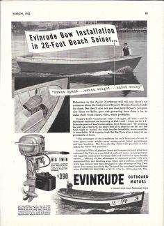 1952 Evinrude Outboard Motors Ad- The Big Twin- 26' Beach Seiner Boat