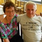"""My Piedmontese hiking friend's T shirt says, """"E meglio morire in piede che vivere in ginocchio"""". It's better to die on your feet than to live on your knees."""" We were on a 100 km hike for 4 days with a group from Piedmont to the Riviera."""