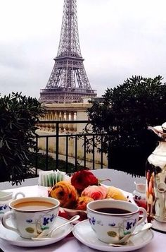 Afternoon tea with a view of the Eiffel Tower in Paris is my idea of heaven! Fun fact, my husband love doing afternoon tea so this is a must do our next time in Paris Oh Paris, I Love Paris, Paris 2015, Paris Chic, Oh The Places You'll Go, Places To Travel, Future Travel, Paris Travel, Travel Europe