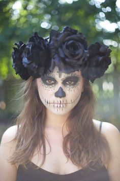 Large Black Rose Flower Crown Headband Sugar by FlowerCrownJewel