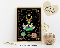 TAURUS Astrology Wall Art,Horoscope Cards, Zodiac Print, Tarot Cards, Star Sign,Digital Download, Astrology Print,Printable,Constellation