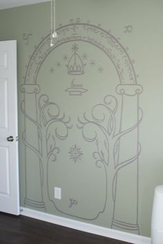 Great Wall Decal for a Lord of The Rings Nursery | Ordinary Fashionista & Lord of the Rings the Mines of Moria doors of Durin painted on ...