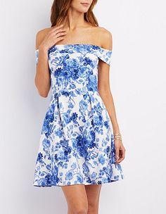 Floral Print Off-the-Shoulder Skater Dress #CharlotteLook