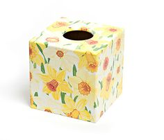 Daffodil Tissue Box Cover by Crackpots Tissue boxes and Bins - Lovingly Hand Decoupaged <3