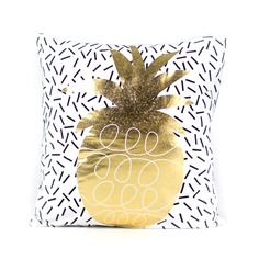 Gold Pineapple Pillow Cover, $60, now featured on Fab.