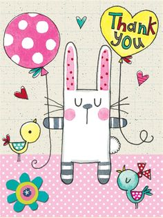 Thank You - Heart of Flowers - Packs of 5 - Rachel Ellen Designs – Card and Stationery Designers and Publishers Thank U Cards, E Cards, Your Cards, Happy Birthday Images, Birthday Pictures, Baby Bunnies, Bunny, Thank You Messages Gratitude, Card Sentiments