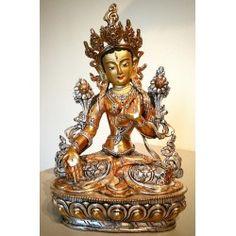 Unieke witte bronzen verzilverde Tara