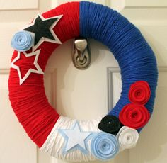 funky and fresh  red white & blue yarn wreath by swimlittlefish, $40.00
