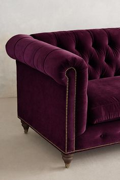 Slide View: 3: Velvet Lyre Chesterfield Sofa, Hickory